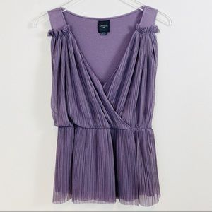 Anthropologie | Deletta Purple Pleated Chiffon Top